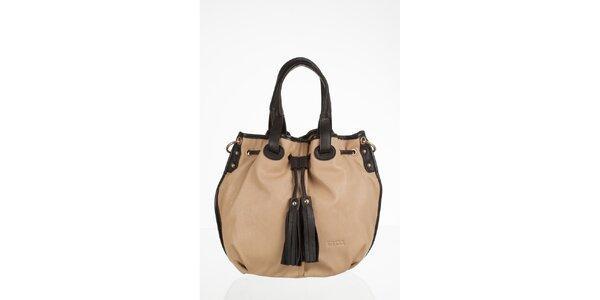 Krémová velká kabelka s třásněmi
