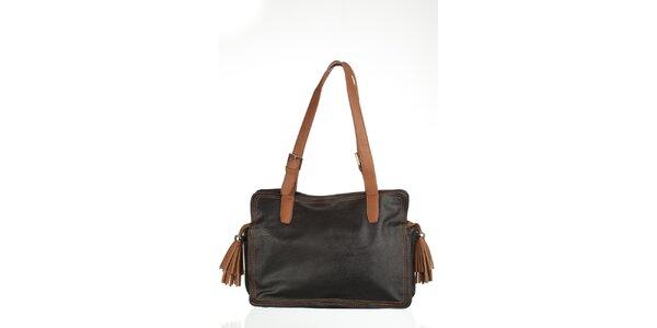 Velká černá kabelka s třásněmi
