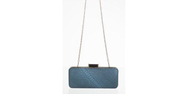 Petrolejově modrá kabelka s motivem hadí kůže