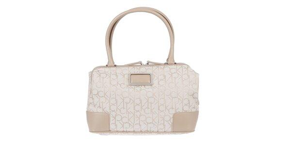 Dámská smetanová kabelka s béžovým potiskem Calvin Klein