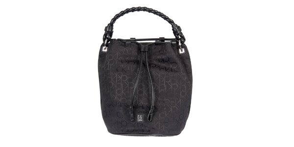 Dámská černá vzorovaná kabelka s copánkovým poutkem Calvin Klein