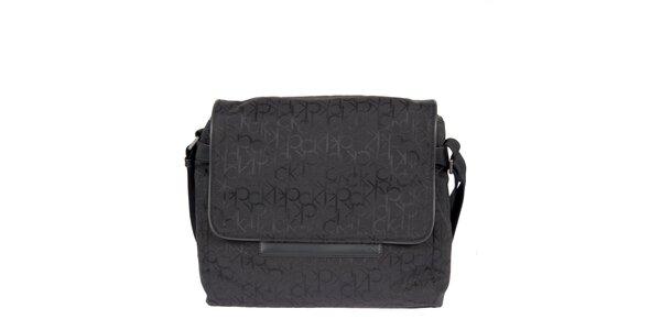 Pánská černá taška s písmenkovým potiskem Calvin Klein