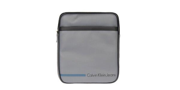 Pánská šedá taška přes rameno s modrým proužkem Calvin Klein Jeans