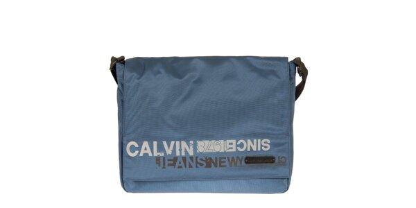 Pánský modrý messenger s potiskem na klopě Calvin Klein Jeans