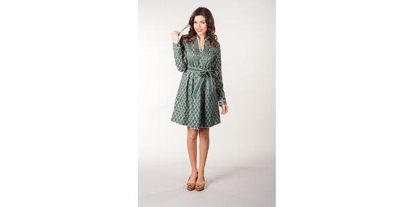 Zelené květované šaty s mašlí v pase CurioCity