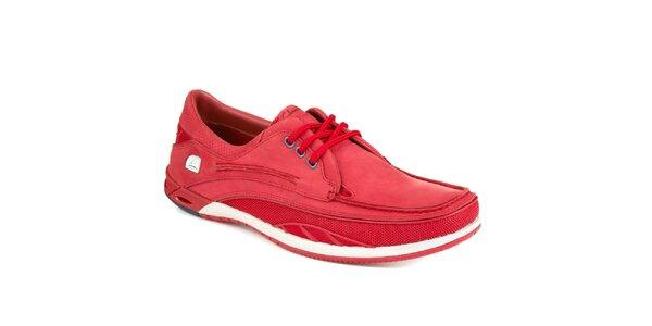 Pánské červené šněrovací jachtařské boty Clarks
