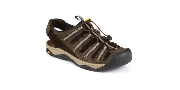 Pánské hnědé kožené sandály s plnou špičkou Clarks
