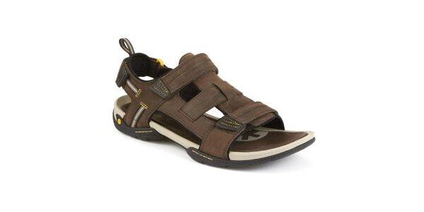 Pánské hnědé kožené sandály Clarks