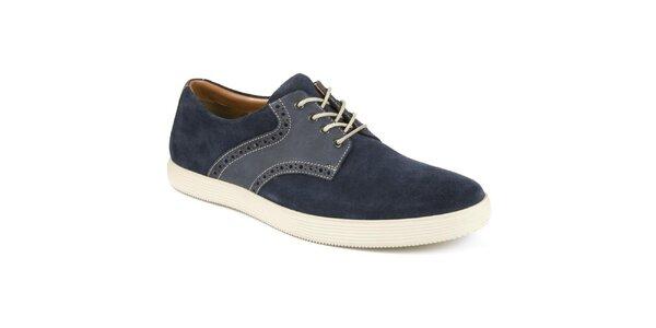Pánské tmavomodré semišové boty s bílou podrážkou Clarks
