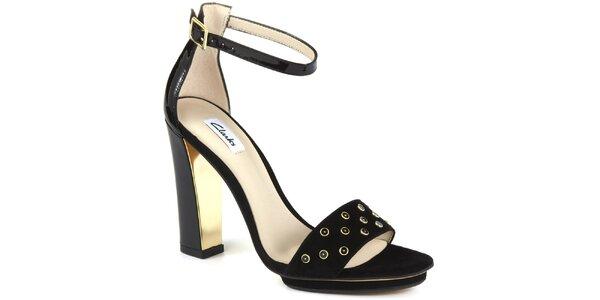 Dámské černé semišové sandálky na podpatku Clarks