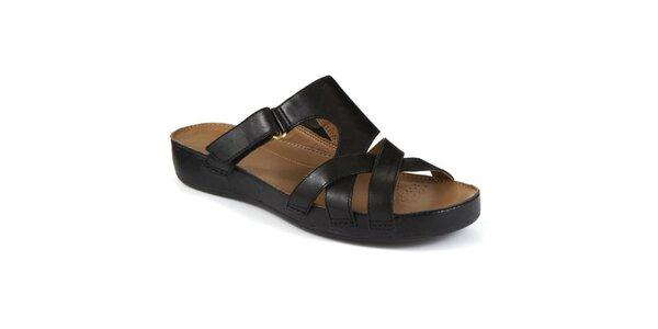 Dámské černé páskové pantofle Clarks