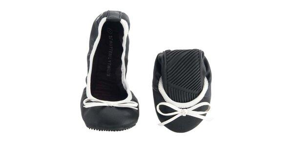 Dámské černo-bílé balerínky s mašlí Butterfly Twists