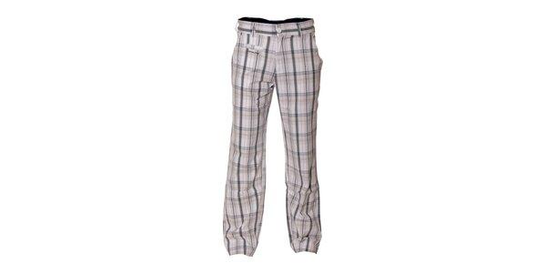 Pánské vycházkové kalhoty Envy v bílé barvě s kostkovaným vzorem