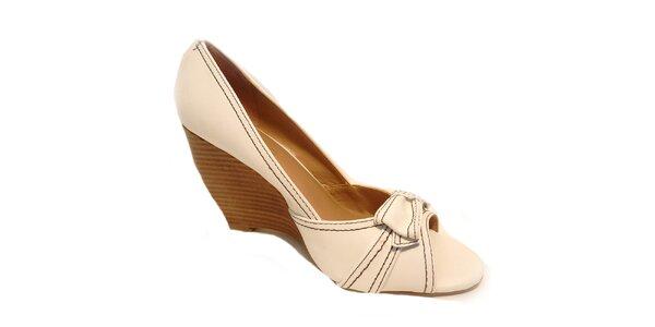 Dámské bílé kožené prošívané boty Via Uno