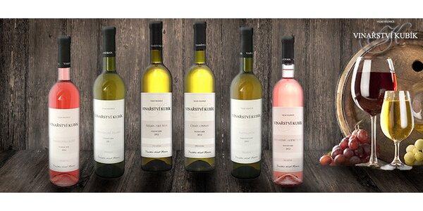 Sada přívlastkových vín z rodinného vinařství Kubík