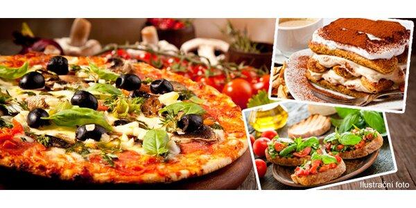 3 chodové menu pro dva v italské restauraci v centru Prahy - Bruschetta, Pizza…