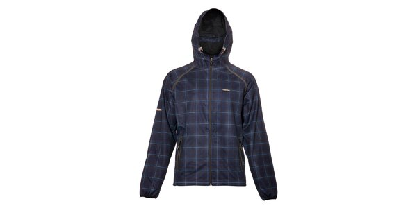 Pánská technická bunda s kapucí Envy s modrým kostkovaným vzorem