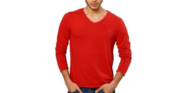Pánské červené tričko s dlouhým rukávem Northern rebel