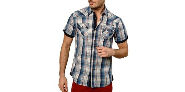 Pánská modře kostkovaná košile s krátkým rukávem Northern rebel