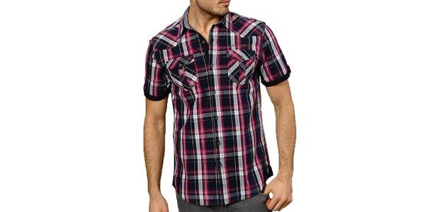 Pánská tmavomodře kostkovaná košile s krátkým rukávem Northern rebel