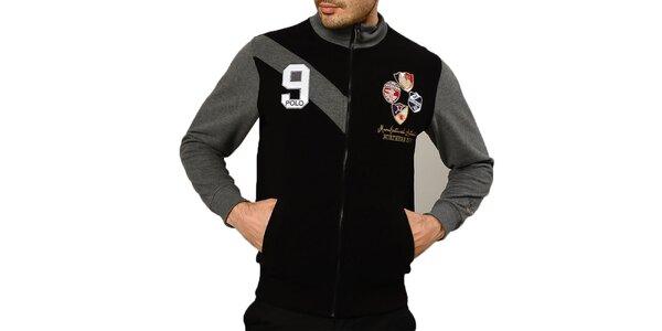 Pánský černý svetr s výšivkami a zipem Northern Rebel