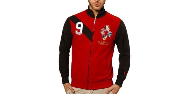 Pánský červený svetr s výšivkami a zipem Northern Rebel
