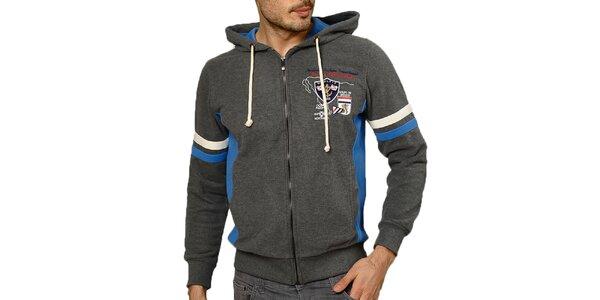 Pánská tmavě šedá mikina s kapucí a barevnými prvky Northern rebel