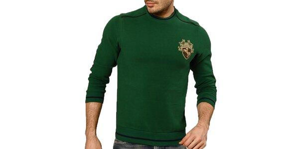 Pánský zelený svetr s loketními nášivkami Northern rebel