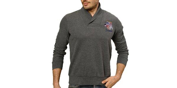 Pánský šedý svetr s loketními nášivkami Northern rebel