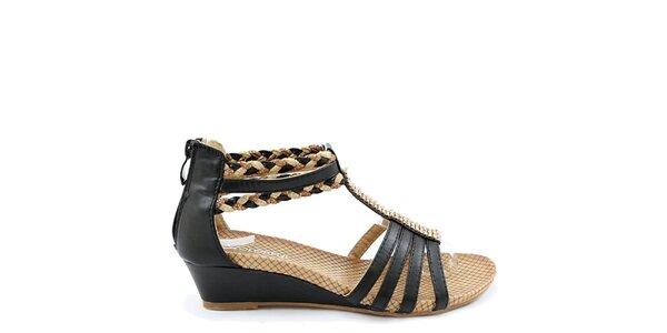 Dámské černo-béžové sandálky na klínku Colorful