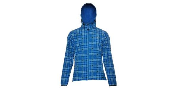 Pánská technická softshellová bunda Envy v modré barvě s kostkovaným vzorem