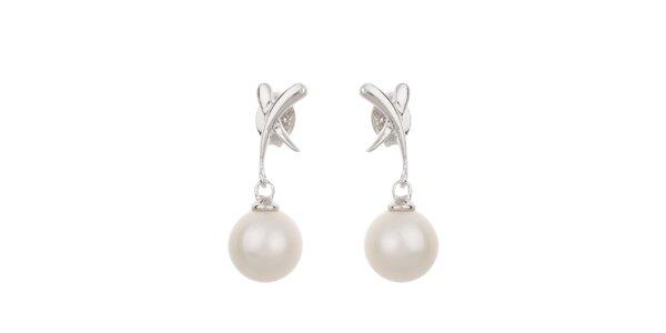 Dámské bílé perlové náušnice Orchira