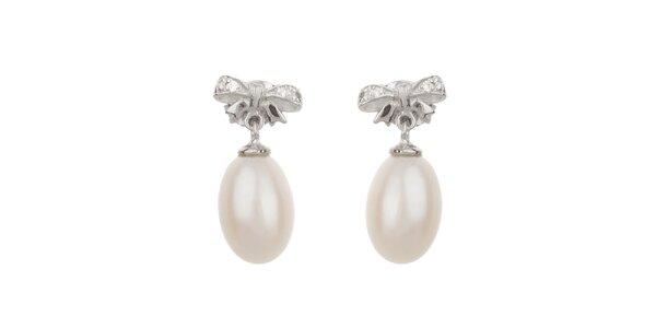 Dámské bílé perlové náušnice Orchira s mašličkou