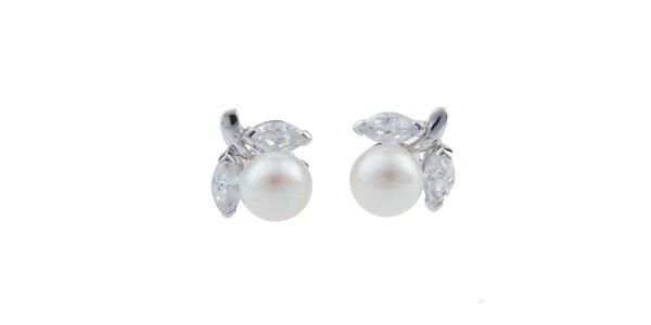 Dámské bílé perlové náušnice Orchira s lístečky