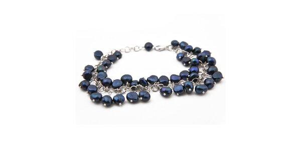 Dámský náramek s tmavě modrými perlami Orchira
