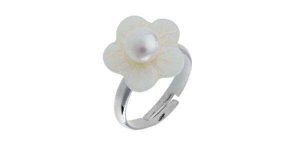 Dámský perleťový prstýnek s bílou perlou Orchira