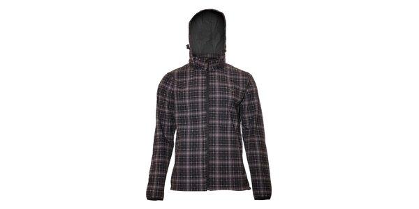Pánská technická softshellová bunda Envy v černé barvě s kostkovaným vzorem