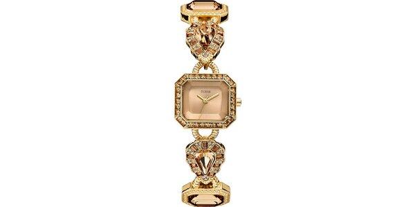 Dámské pozlacené ocelové hodinky se zirkony Guess