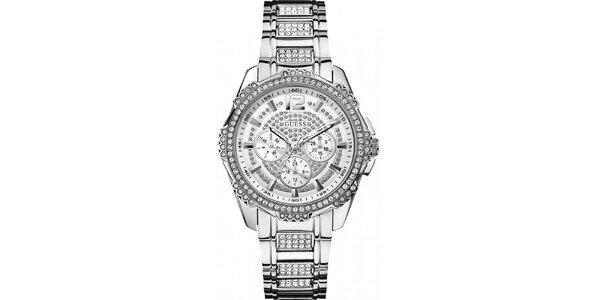 Dámské ocelové hodinky s kamínky Guess
