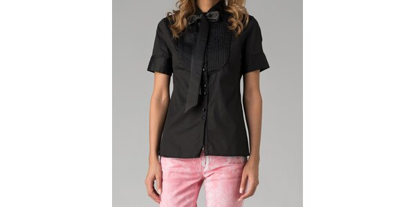 Černá dámská košile s krátkým rukávem Twist