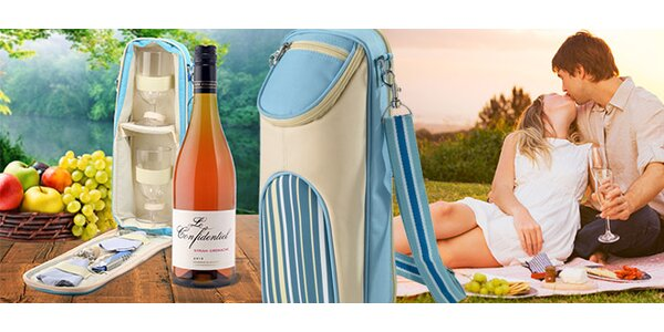 Pikniková taška s lahví vína a dvěma skleničkami