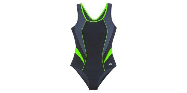 Dámské černé jednodílné plavky se zelenými detaily Gwinner