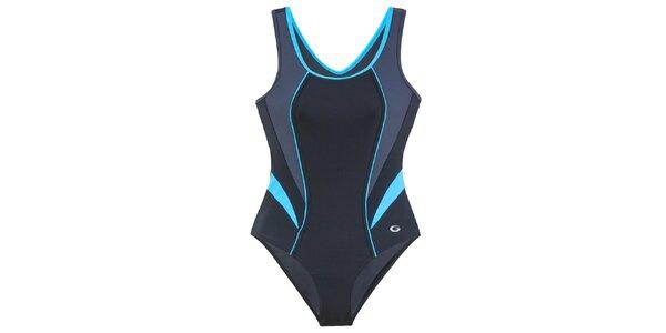Dámské černé jednodílné plavky s tyrkysovými detaily Gwinner