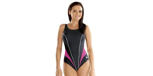 Dámské jednodílné antracitové plavky s růžovými pruhy Gwinner