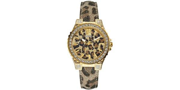 Dámské leopardí hodinky s kamínky Guess