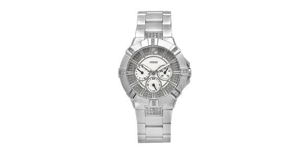 Dámské hodinky z leštěné oceli se zirkony Guess