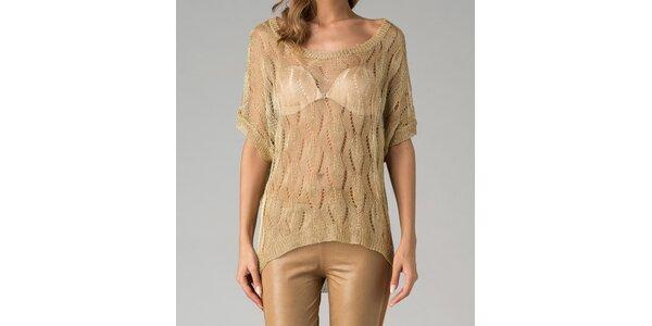 Zlatý svetr s děrovaným vzorkem Twist