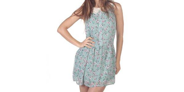 Dámské krátké květované šaty s krajkovým límečkem Azura
