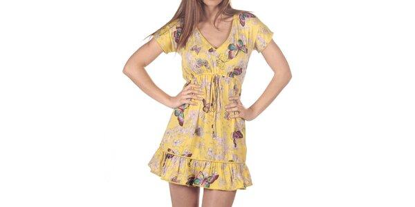 Dámské žluté šaty s potiskem motýlů a květin Azura