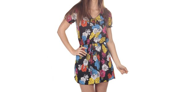 Dámské černé šaty s barevnými kytičkami Azura